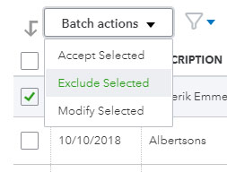 Exclude banking transactions in QuickBooks Online