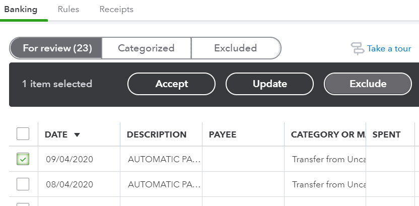 QuickBooks Online Exclude Transactions